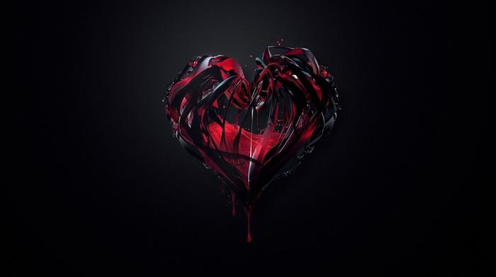 dark background, artwork, Justin Maller, digital art, hearts