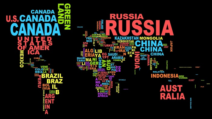 minimalism, map, word clouds, typography, colorful, dark, simple, black background, countries, Europe, world