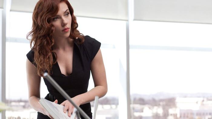 iron man 2, Black Widow, redhead, brunette, Scarlett Johansson, girl, actress, movies, cleavage