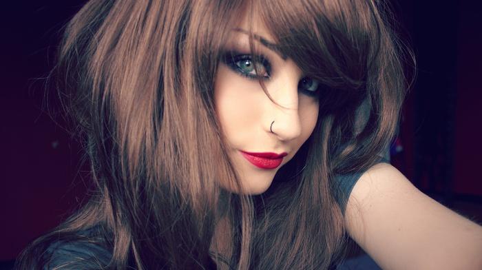 brunette, model, niky von macabre, girl, face