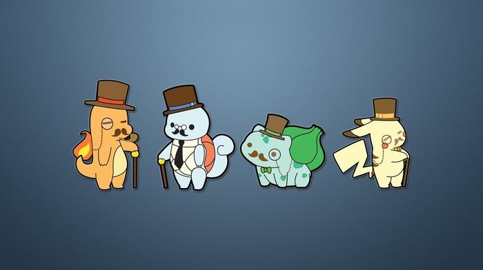 Squirtle, Bulbasaur, Pikachu, Zombey, minimalism, Charmander