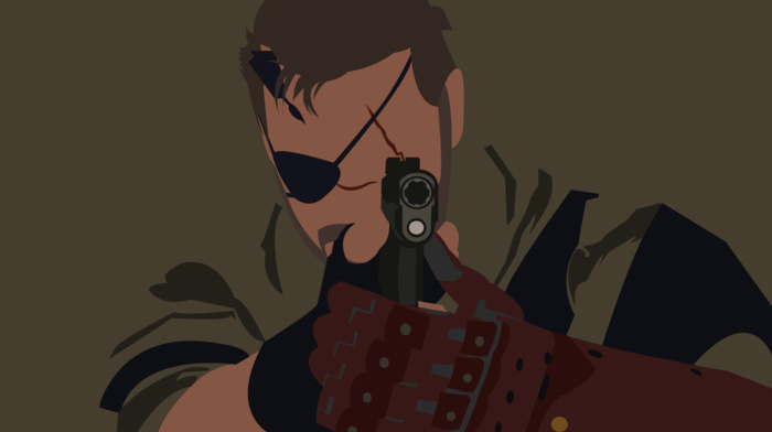 Metal Gear Solid V The Phantom Pain, Big Boss, minimalism, Metal Gear Solid, vectors, Metal Gear, gun