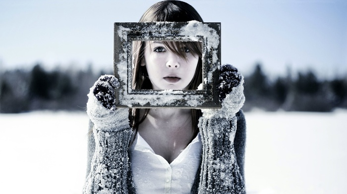 snow, winter, girl, gloves, picture frames, brunette