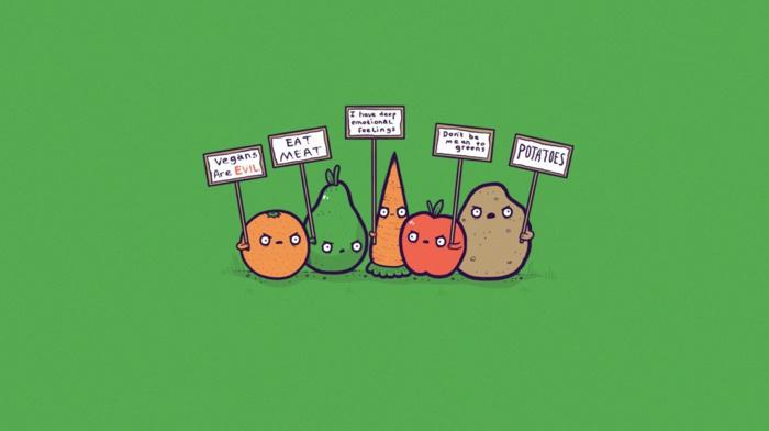 veganism, signs, green, simple, minimalism, apples, threadless, orange fruit, carrots, potatoes