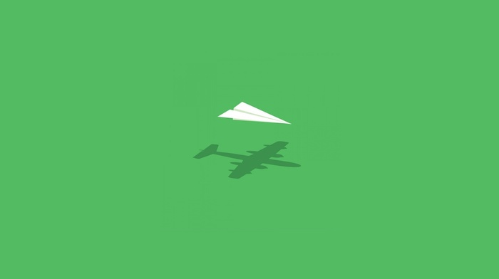 green, paperplanes, simple, airplane, simple background, abstract