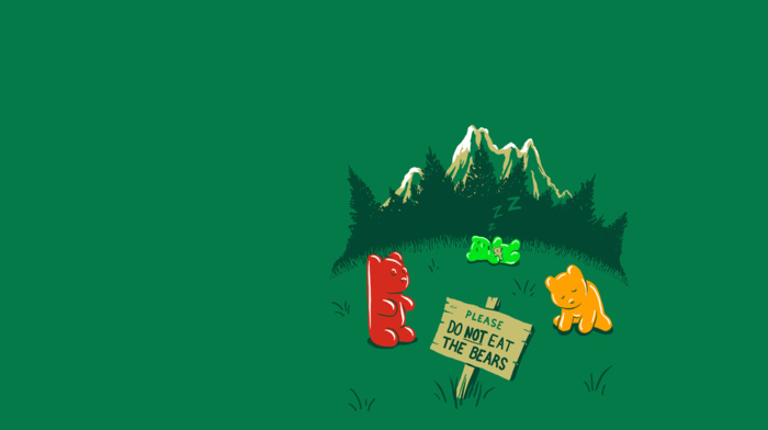 gummy bears, minimalism, mountain, nature, green, threadless, humor, trees, warning signs, simple, grass