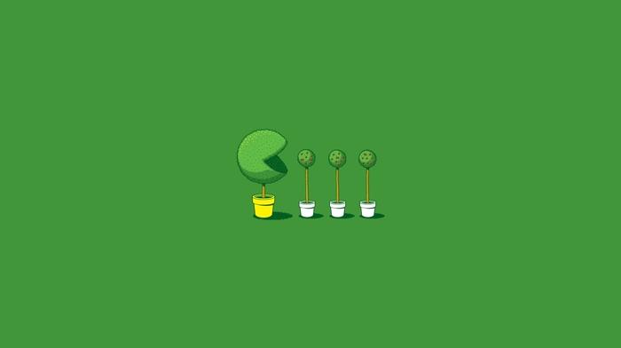 threadless, humor, Pacman, trees, simple, minimalism