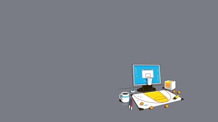 minimalism, humor, coffee, simple background, simple, threadless, computer, basketball