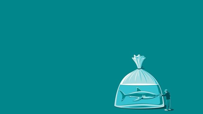 minimalism, threadless, humor, simple, shark, water