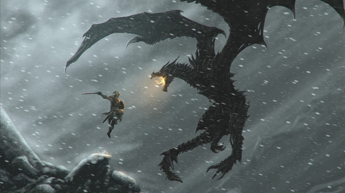 video games, dovahkiin, dragonborn, dragon, the elder scrolls v skyrim, Alduin