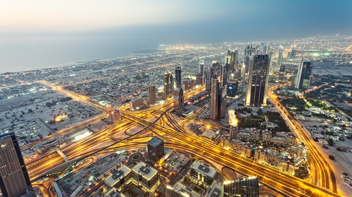nature, skyscraper, urban, Dubai, cityscape, anime, highway, lights, United Arab Emirates, road