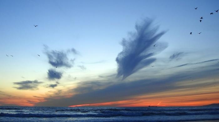 waves, summer, storm, sky
