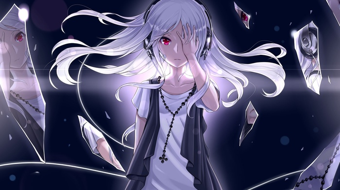 white hair, red eyes, anime, headphones, original characters