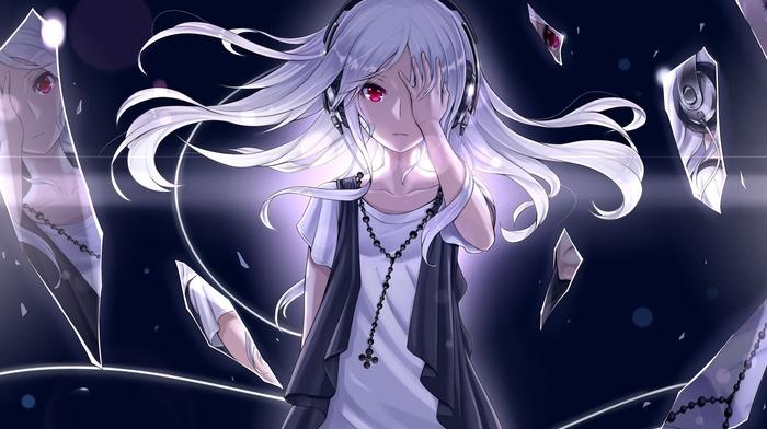 белые волосы, красные галаза, аниме, наушники, оригинальные персонажи