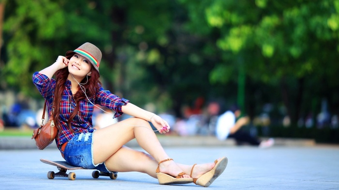 ноги, Азия, улыбка, скейтборд, девушка