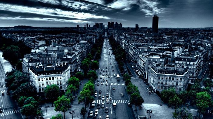city, car, street, Paris, road, night, France, trees, traffic, urban, building