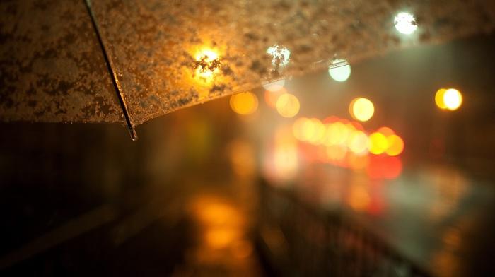 lights, rain, night, blurred