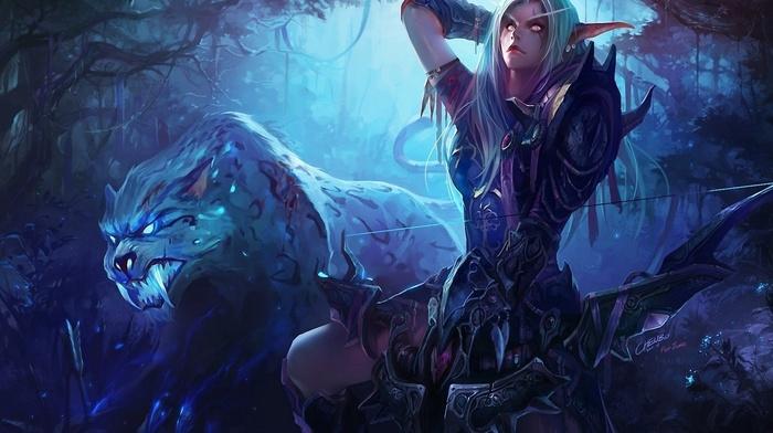 Night Elves, elves, bows, World of Warcraft, elven ears, blonde, animals