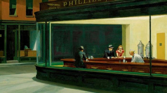 Nighthawks, painting, restaurant, classic art, Edward Hopper
