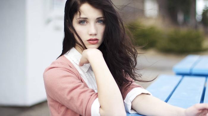 face, girl, brunette, emily rudd, blue eyes