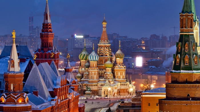Moscow, snow, Kremlin, Europe, Russia, church
