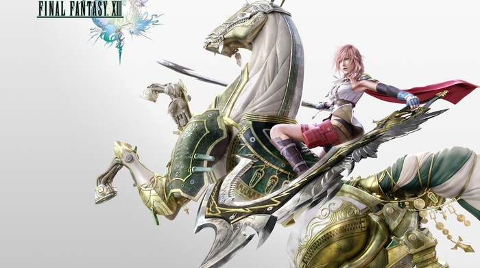 video games, Final Fantasy XIII, Claire Farron, Final Fantasy, sword, horse
