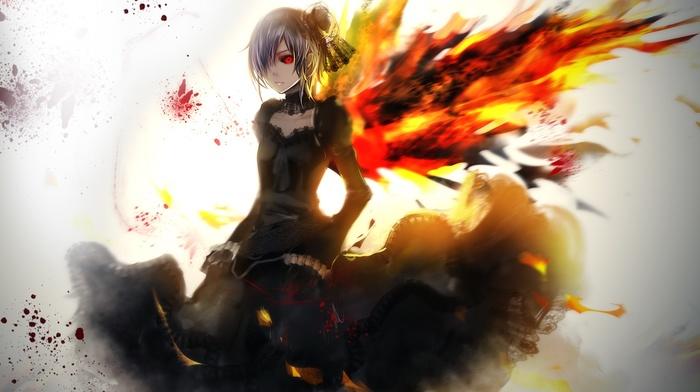 dark hair, Kirishima Touka, anime girls, short hair, red eyes, Tokyo Ghoul, fire, anime
