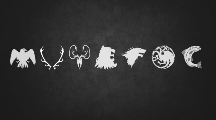 House Baratheon, sigils, House Greyjoy, Game of Thrones, House Targaryen, a song of ice and fire, House Arryn, house stark, House Tully, House Lannister