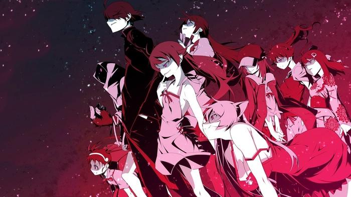 Oshino Shinobu, девушки из аниме, произведение искусства, Senjougahara Hitagi, аниме, парни из аниме