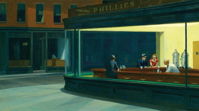 artwork, painting, Edward Hopper, Nighthawks, classic art