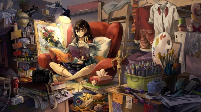 anime, anime girls, room, original characters