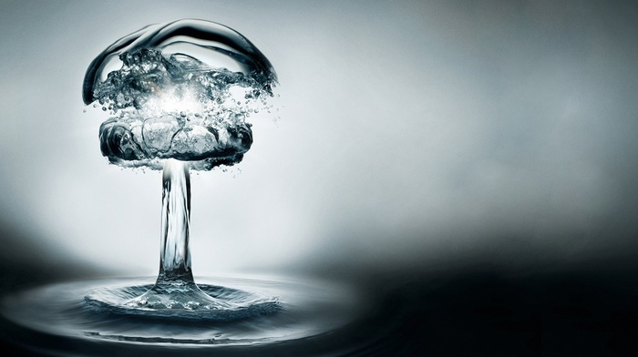 nuclear, nuclear fungus, water, ripples, water drops