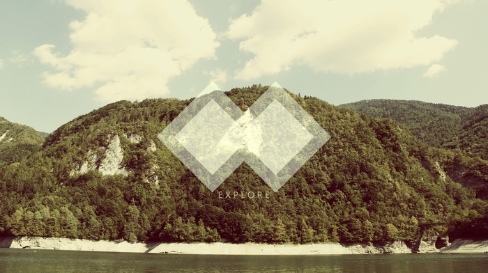 landscape, polyscape, anime, forest, geometry, nature, abstract, hill
