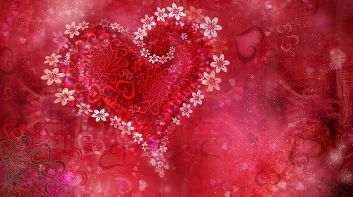 heart, holiday, flowers