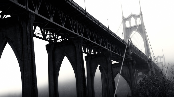USA, St. Johns Bridge, bridge, Portland, monochrome, Oregon