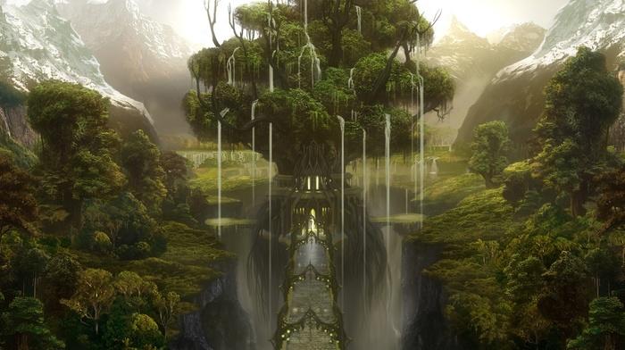 tree, bridge, forest, castle, fantasy, mountain