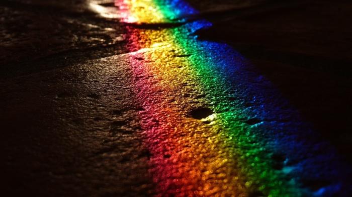 road, stunner, light, rainbow, night, colors