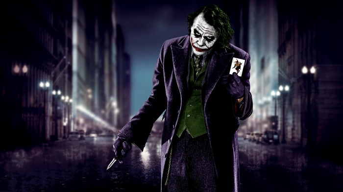 Batman, cards, The Dark Knight, knife, movies, MessenjahMatt, Joker, Heath Ledger, blurred, city