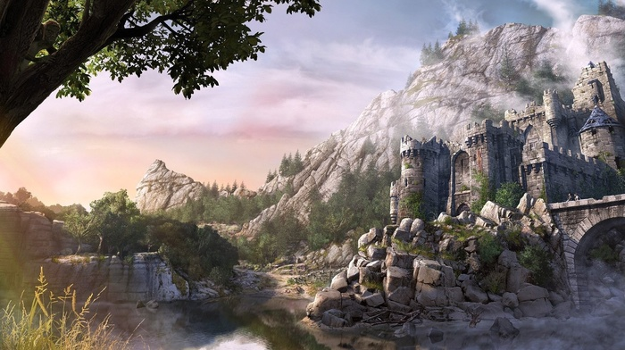 castle, bridge, forest, fantasy art, rock
