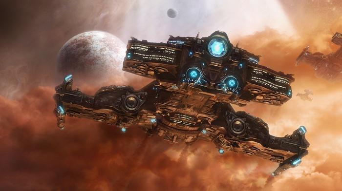 космический корабль, фантастическое исскуство, произведение искусства, Starcraft II, космос