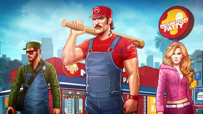 Luigi, baseball bats, concept art, mushroom, Princess Peach, Super Mario, artwork, Mario Bros.