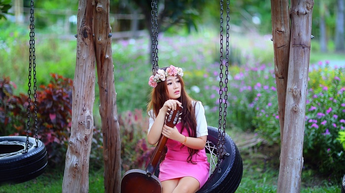girl, wreaths, girl outdoors, pink dress, swings, guitar, Asian
