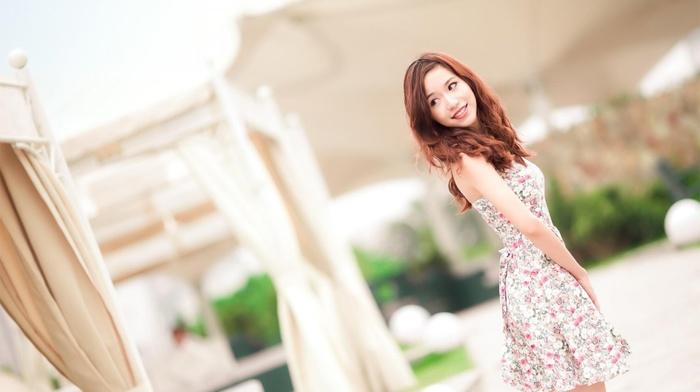 girl, Asian, girl outdoors, brunette, dress