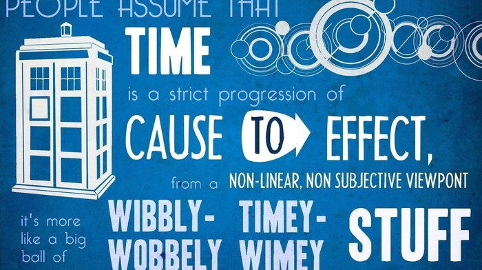 The Doctor, tardis, David Tennant, typography, Doctor Who