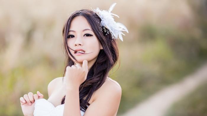 model, Japanese girl, depth of field, brunette, brown eyes, Asian, white dress, long hair, open mouth, girl, feathers, girl outdoors