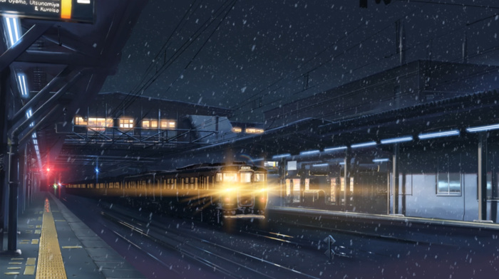 lights, train station, Makoto Shinkai, 5 Centimeters Per Second, night, anime, winter, train, snow