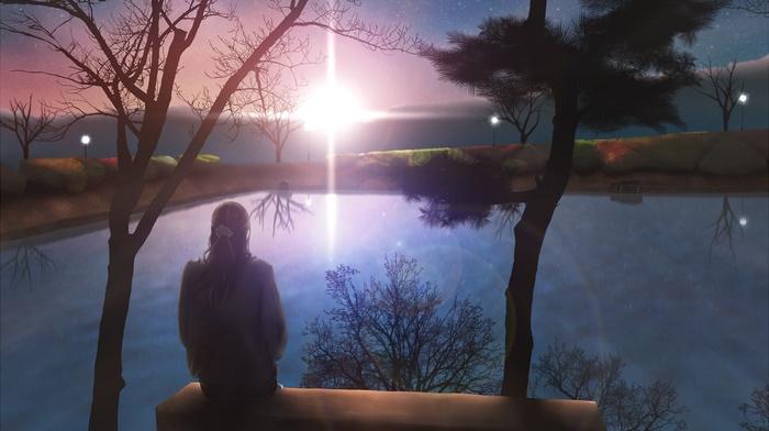 девушки из аниме, озеро, сидя, закат, одиночество, оригинальные персонажи, аниме