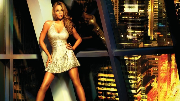 dress, urban, reflection, Mariah Carey, blonde, city, wavy hair, long hair
