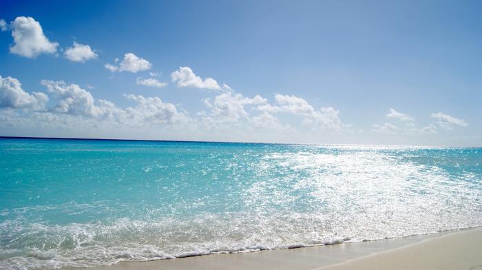 sea, nature, Sun, beach, landscape, azure, sky, coast, summer, waves, clouds, sand, water, light