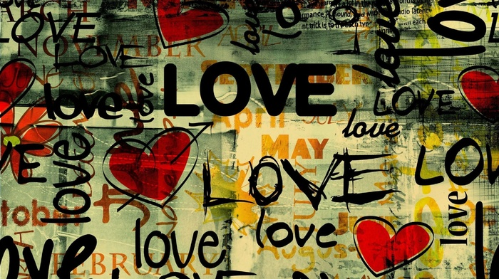 hearts, typography, graffiti, love
